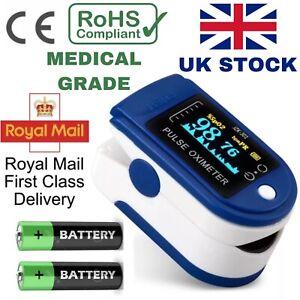 UK Fingertip Pulse Oximeter - Oxygen Saturation Meter  SPO2 - PR Blood Monitor