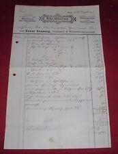 rechnung alt antik xaver sonntag flaschnerei reute wasserleitungsges 1913 papier