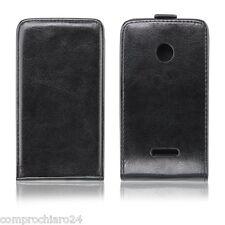 Custodia Portafoglio Verticale Carta Credito Ecopelle Nera per Nokia Lumia 435