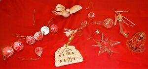 Lot 14 Crystal Clear Acrylic Christmas Ornaments-Dove, Bell, House, Star, Balls