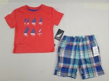 Nautica Baby Boys' 2 Piece Tee Shirt and Plaid Short Set size 6/9 months