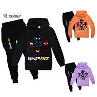 Kids NINJA KIDZ Hoodie Hooded+Pants Trousers YouTube Tracksuit Casual 2PCS Set