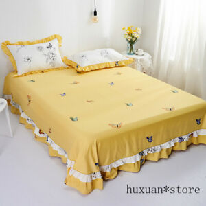 100% Cotton Sheet Bed Skirt Solid Color Mattress Cover Yellow Lace Pillowcase