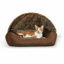 K&H Thermo Hooded Indoor Kitty Cat Lounger Bed - Heated Brown / Leopard