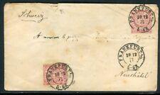 Allemagne - Entier postal + complément de Frankfurt pour la Suisse en 1871