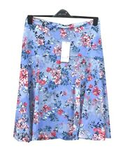 Per Una Blue Summer Skirt Size 14 Floral Print Fully Lined Knee Length