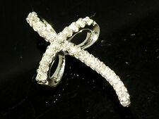 P036- Sparkling Genuine 9K SOLID White GOLD NATURAL Diamond Cross Slider Pendant
