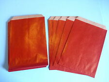 25 Flachbeutel Papiertüten kräftiges Papier bunt rot 11 x 17 cm NEU