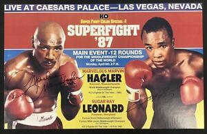 Marvin Hagler Signed Fight Poster 22x14 4/6/87 Boxing Sugar Ray Leonard Auto PSA