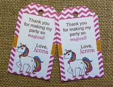 18x PERSONALISED Unicorn Theme Thank You Tags Favour Birthday Tag Magical Theme