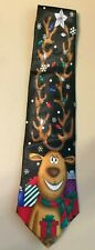 Black Necktie With Rudolph Lights Snowflakes Candy Canes and Packages