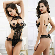 Women Sexy Lingerie Bodysuit Teddy Nightwear Erotic Lace Bodycon Open Bust Black