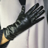 Women's Genuine Sheep Leather Ruched Wrist Gloves Medium-Long Gloves Black 28cm