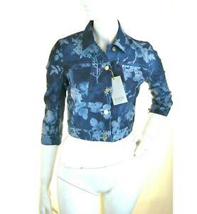 Giacca Jeans GiubbIno Donna KAOS Made in Italy SA741 Floreale Blu Tg S
