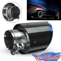 63mm-101mm Glossy Carbon Fiber Rear Exhaust Tips Universal Car Exhaust Pipe