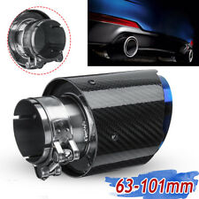 63mm-101mm Glossy Carbon Fiber Rear Exhaust Tips Universal Car Exhaust Pipe Blue