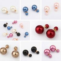 1 Pair Fashion Women Jewelry Double Sided Crystal Pearl Beads Ear Studs Earrings