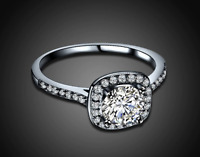18K White Gold Halo Ring Made with Swarovski Elements