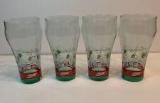 Vtg 1992 Coca Cola Drinking Glasses Holiday Christmas Pinecones Green Set Of 4