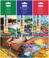 8/10 Tubes Acrylic, Oil, Water Colour Art Crafts Paint Set Craft Artist Paints