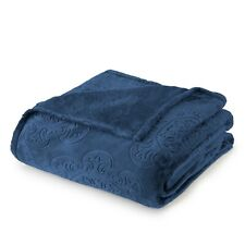Sun Yin Italian Tile Velvet Plush Hot-Pressed Blanket Blue Twin Size NEW