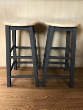 2 x Hand Painted Wooden Bar Stools - Black