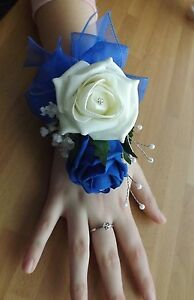 Wedding flowers wrist corsage foam roses diamante pearls different colours