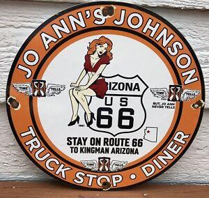 VINTAGE 1961 DATED JO ANN'S JOHNSON GASOLINE PORCELAIN GAS STATION SIGN ROUTE 66