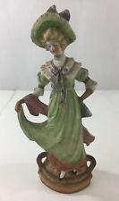 "Vintage Victorian Lady Porcelain Figurine Bisque Japan Hand Painted 9.5x3x2"" Hat"