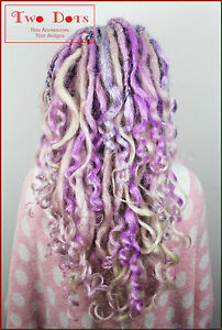 Lavender & Blonde Mix Curly Dreads, 20 Inches, SE & DE Dreads, Pastel, Mermaid