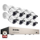 ZOSI 8CH H.265 DVR with Hard Drive 2TB 1080p Outdoor Home Security Camera System