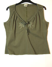KHAKI GREEN LADIES CASUAL TOP BLOUSE EMBROIDERED FLOWERS YESSICA C&S SIZE 14