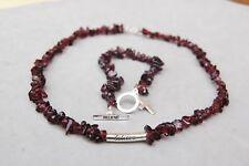 Garnet Chip Necklace Bracelet Set Sterling Silver Christian Believe Blood Christ