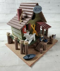 Gone Fishing Bait Shack Wooden Cabin Decorative Bird House - Hang or Place