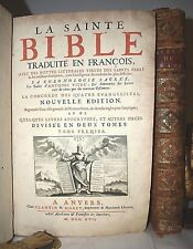 BIBBIA '700 SAINTE BIBLE de SACY 2 volumi 1717 Anversa Vecchio Nuovo Testamento