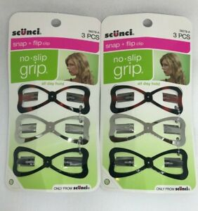 New SCUNCI Snap + Flip Clip No Slip Grip Hair Accessories 38279 - Lot of 2 Packs