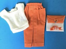 Vintage BARBIE WHITE KNIT SWEATER w/ORANGE SHEATH SKIRT, PURSE & HEELS  1962 EUC