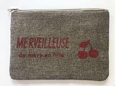 """POCHETTE TROUSSE TOILE DE JUTE """"MERVEILLEUSE DE MERE EN FILLE"""" CERISE PAILLETTE"""