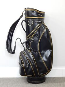 VINTAGE Mizuno Black Vinyl Golf Club Cart Bag