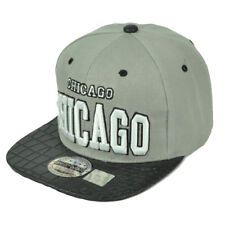 Chicago City Gray Faux Snake Skin Leather Flat Bill Hat Cap Snapback Illinois