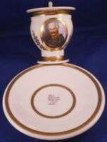Antique 19thC German Porcelain Portrait Cup & Saucer Porzellan Tasse Germany
