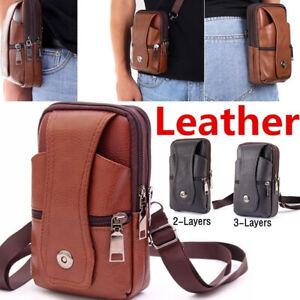 Men's Genuine Leather Waist Bag Cell Mobile Phone Crossbody Purse Belt Bum Pack