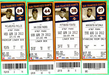 """(4) 2012 SF GIANTS FULL SEASON """"PHOTO"""" TICKETS-MAYS/MCCOVEY/MARICHAL/G. PERRY"""