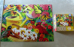Puzzle Milton Bradley Nancy Wernersbach Gardening 500 Butterflies Flowers Birds
