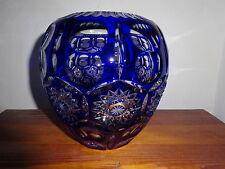 Vase Überfang Bleikristall Schleuderstern Handschliff kobaltblau