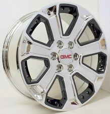 New 22 Inch GMC Sierra Z71 Yukon Denali Chrome with Black Inserts Wheels Rims