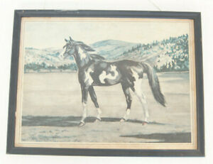 """1949 Framed Print by Jeanne Mellin 11"""" x 14"""" Painted Pony Horse D.A.C. N.Y."""