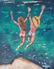 BEACH BABES Original Cliff Jumping Art PAINTING DAN BYL Contemporary Modern 4x5'