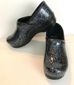 DANSKO Professional Clogs/Shoes Glitzy Blue Sparkle Patent Leather 39 US 8.5/9
