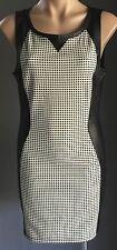Gorgeous ALLY Ivory & Black Check Pleather Trim Stretch Sheath Dress Size 12